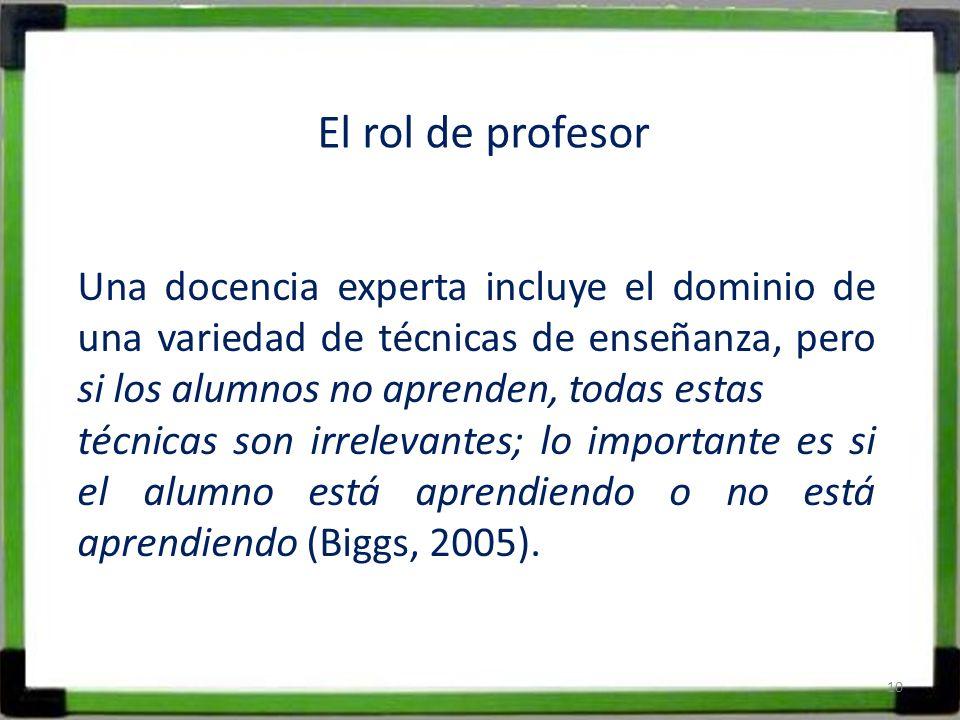 El rol de profesor Una docencia experta incluye el dominio de una variedad de técnicas de enseñanza, pero si los alumnos no aprenden, todas estas.