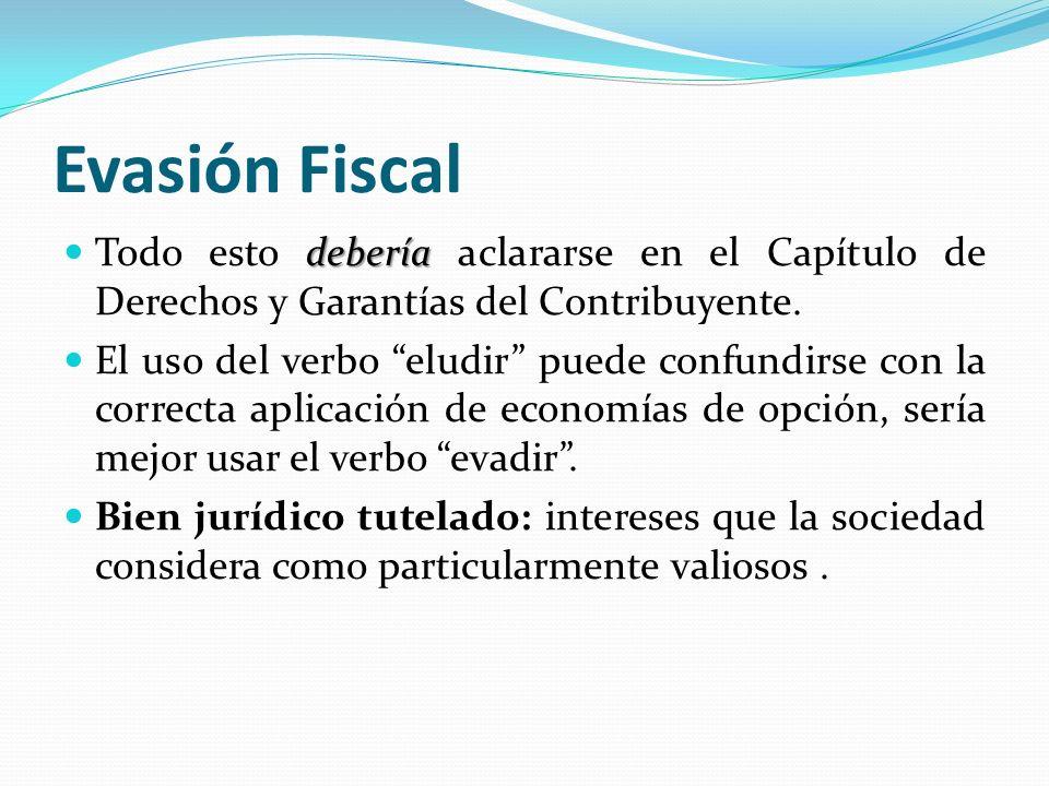 Evasión Fiscal Todo esto debería aclararse en el Capítulo de Derechos y Garantías del Contribuyente.