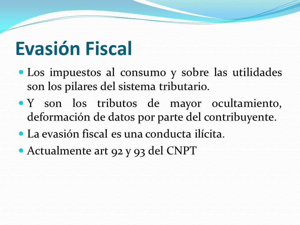Evasión Fiscal Los impuestos al consumo y sobre las utilidades son los pilares del sistema tributario.