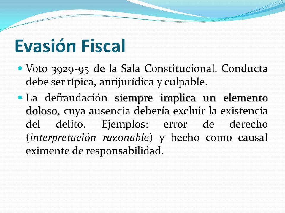 Evasión Fiscal Voto 3929-95 de la Sala Constitucional. Conducta debe ser típica, antijurídica y culpable.