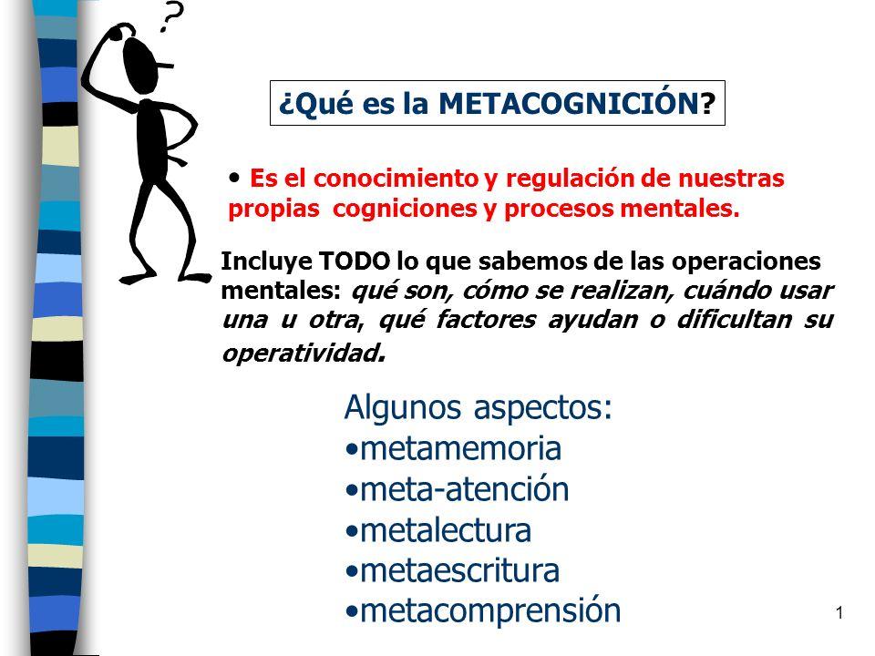 Algunos aspectos: metamemoria meta-atención metalectura metaescritura
