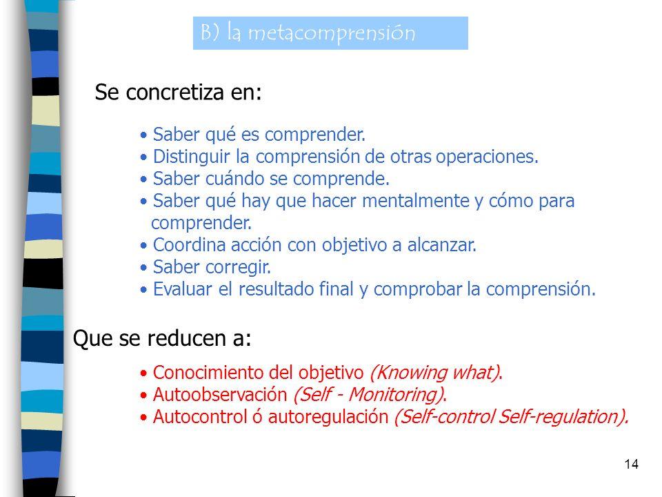 B) la metacomprensión Se concretiza en: Que se reducen a: