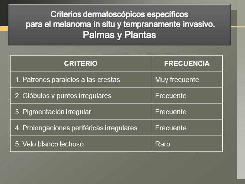 CRITERIO FRECUENCIA. 1. Patrones paralelos a las crestas. Muy frecuente. 2. Glóbulos y puntos irregulares.