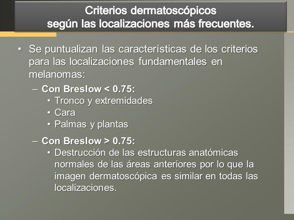 Se puntualizan las características de los criterios para las localizaciones fundamentales en melanomas: