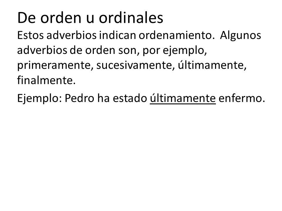 De orden u ordinales