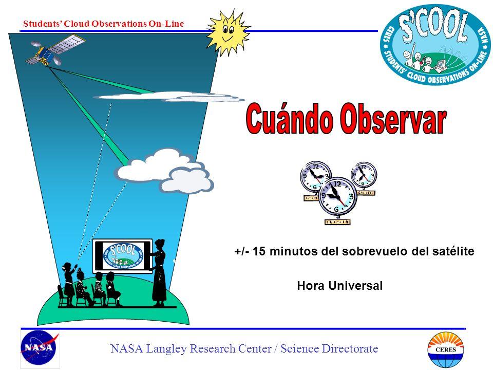 Cuándo Observar +/- 15 minutos del sobrevuelo del satélite