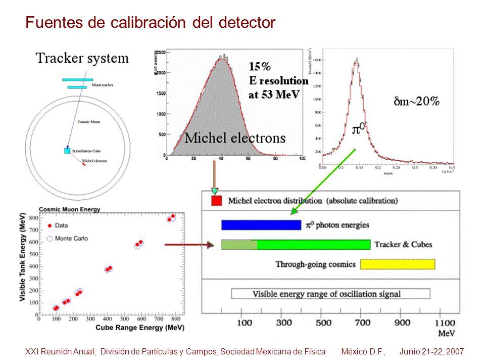 Fuentes de calibración del detector