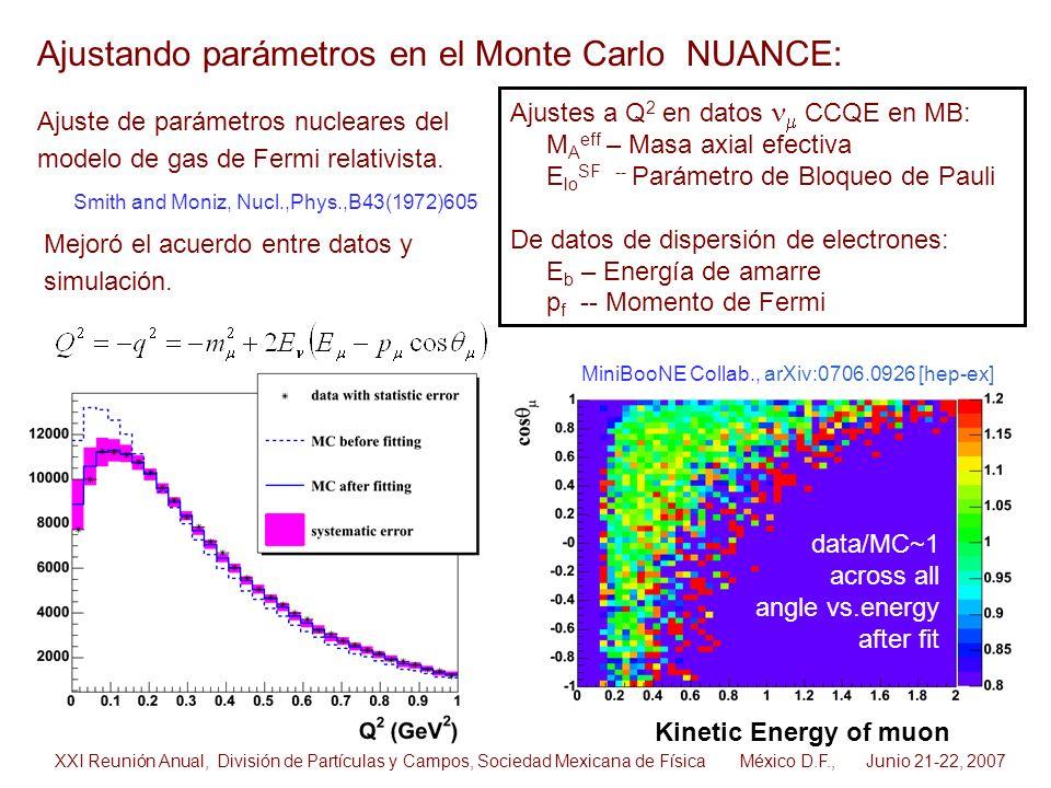 Ajustando parámetros en el Monte Carlo NUANCE: