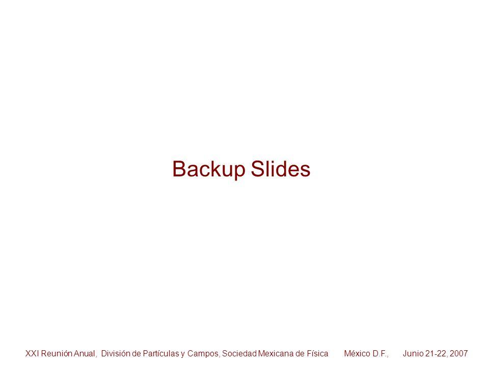 Backup Slides XXI Reunión Anual, División de Partículas y Campos, Sociedad Mexicana de Física México D.F., Junio 21-22, 2007.
