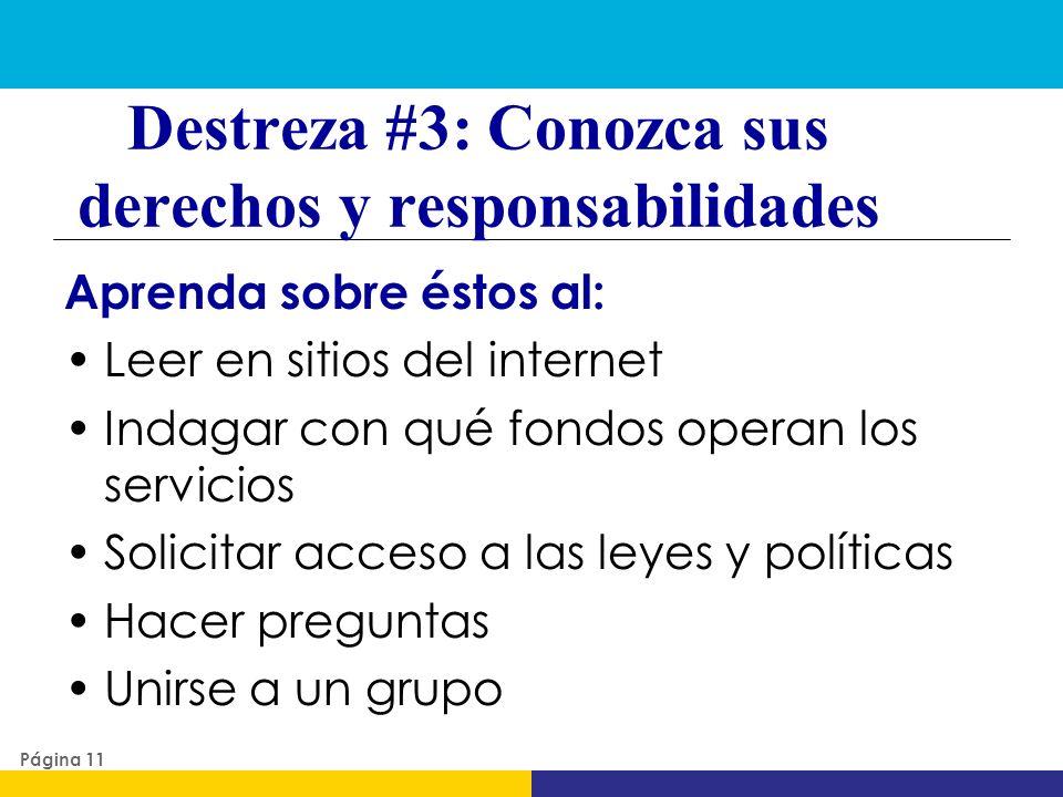 Destreza #3: Conozca sus derechos y responsabilidades
