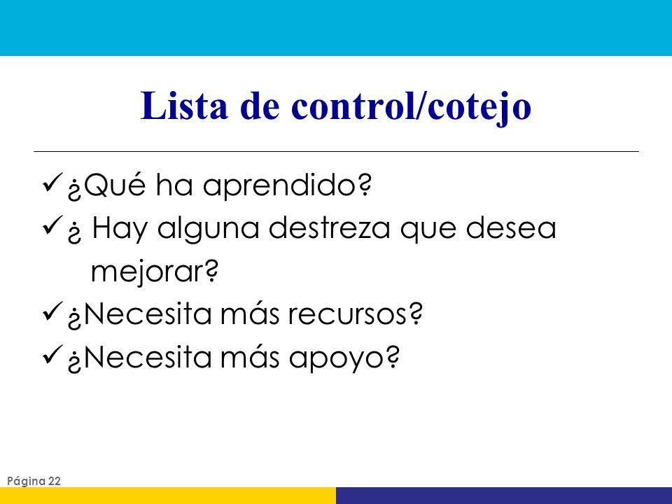 Lista de control/cotejo