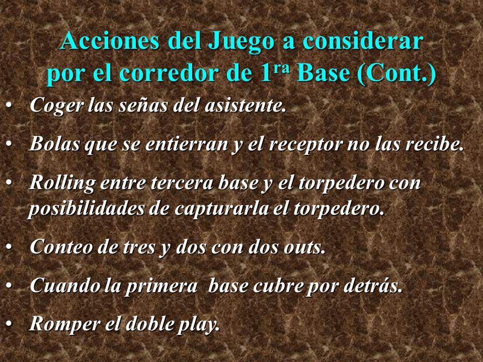 Acciones del Juego a considerar por el corredor de 1ra Base (Cont.)