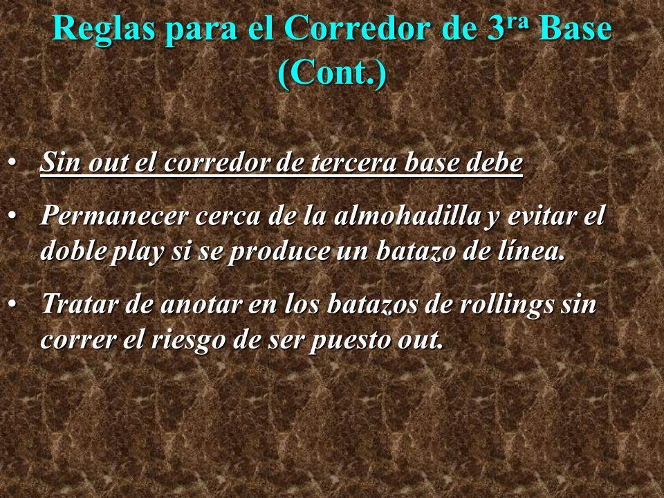 Reglas para el Corredor de 3ra Base (Cont.)