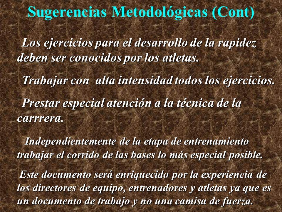 Sugerencias Metodológicas (Cont)