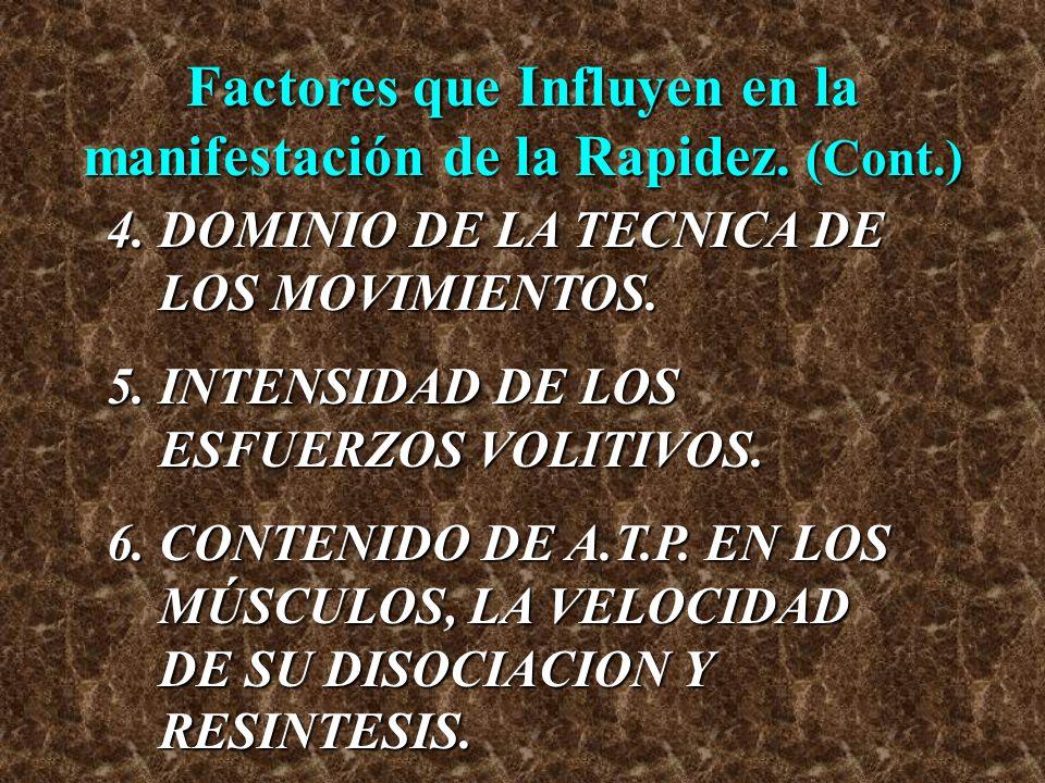Factores que Influyen en la manifestación de la Rapidez. (Cont.)
