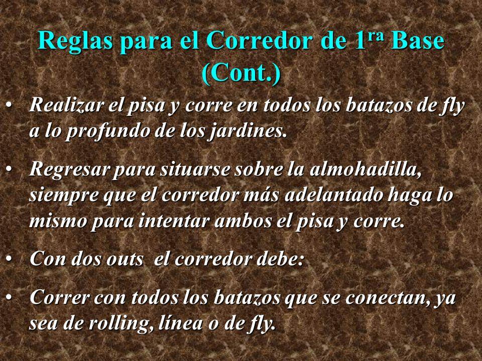 Reglas para el Corredor de 1ra Base (Cont.)