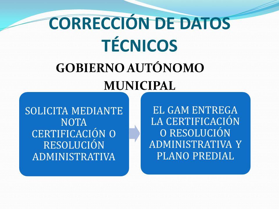 CORRECCIÓN DE DATOS TÉCNICOS