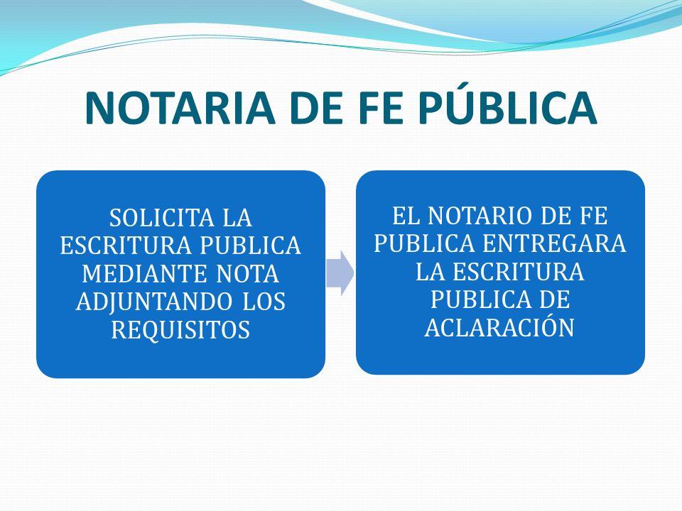 NOTARIA DE FE PÚBLICA SOLICITA LA ESCRITURA PUBLICA MEDIANTE NOTA ADJUNTANDO LOS REQUISITOS.