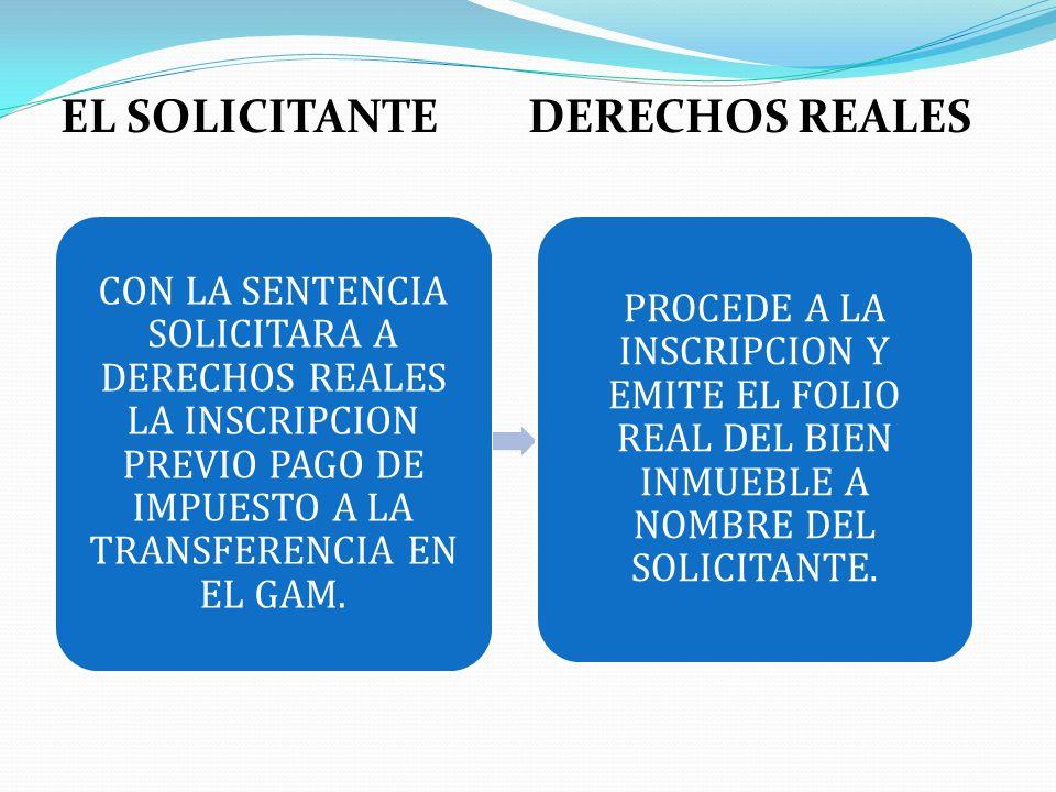EL SOLICITANTE DERECHOS REALES
