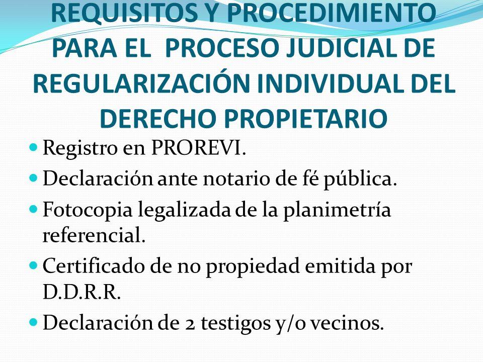 REQUISITOS Y PROCEDIMIENTO PARA EL PROCESO JUDICIAL DE REGULARIZACIÓN INDIVIDUAL DEL DERECHO PROPIETARIO