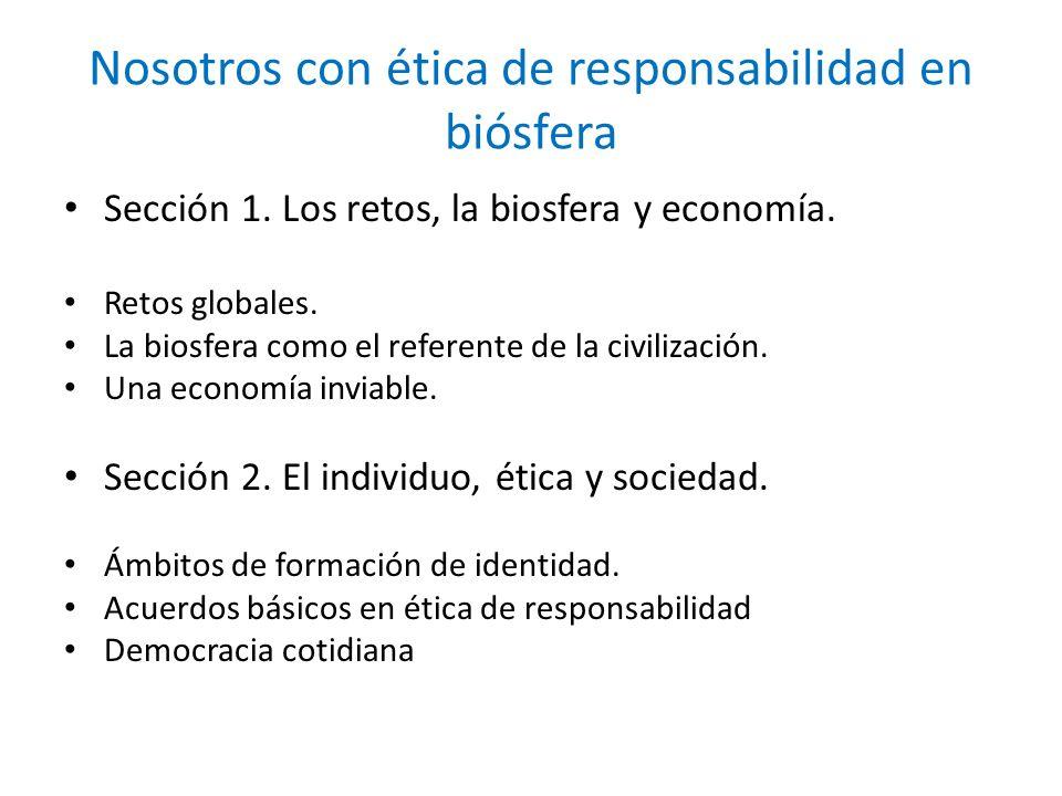 Nosotros con ética de responsabilidad en biósfera