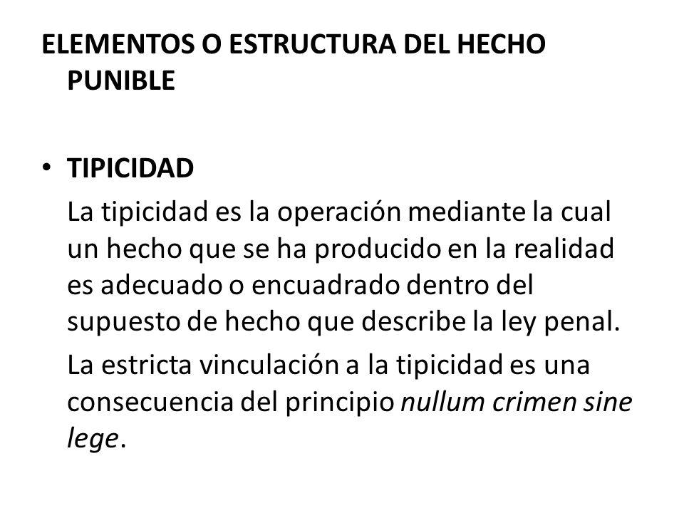 ELEMENTOS O ESTRUCTURA DEL HECHO PUNIBLE