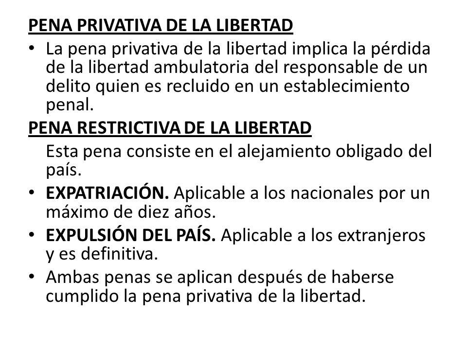 PENA PRIVATIVA DE LA LIBERTAD