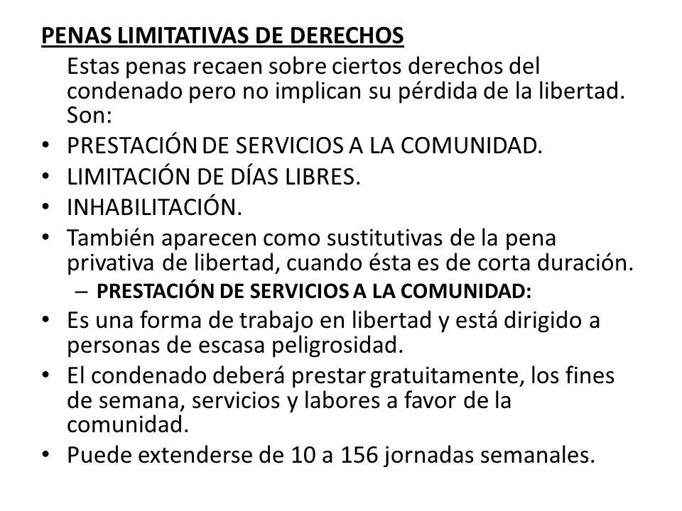PENAS LIMITATIVAS DE DERECHOS