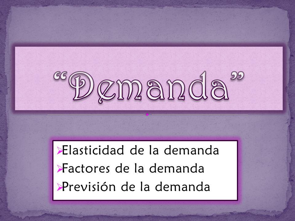 Demanda Elasticidad de la demanda Factores de la demanda