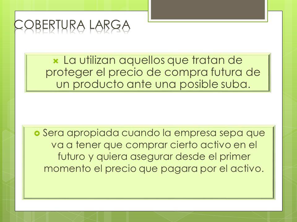 Cobertura LARGA La utilizan aquellos que tratan de proteger el precio de compra futura de un producto ante una posible suba.