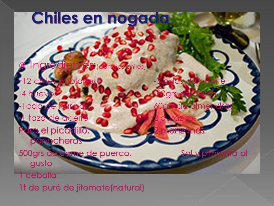 Chiles en nogada Ingredientes:(para los chiles)