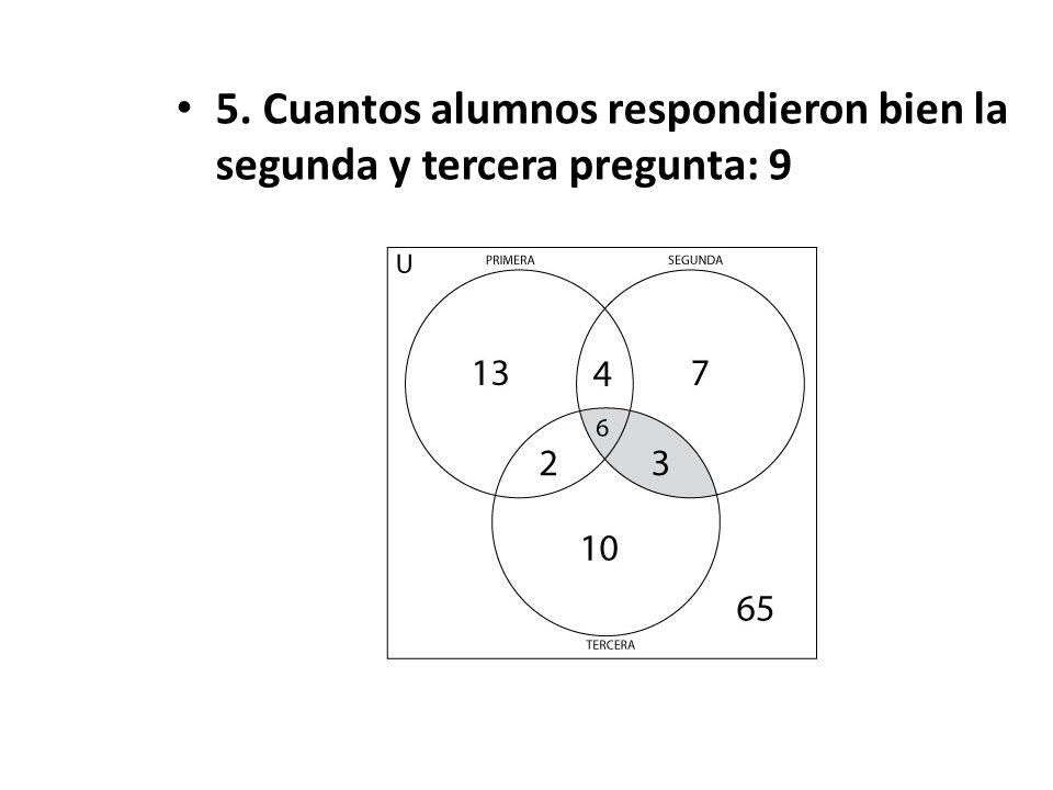 5. Cuantos alumnos respondieron bien la segunda y tercera pregunta: 9
