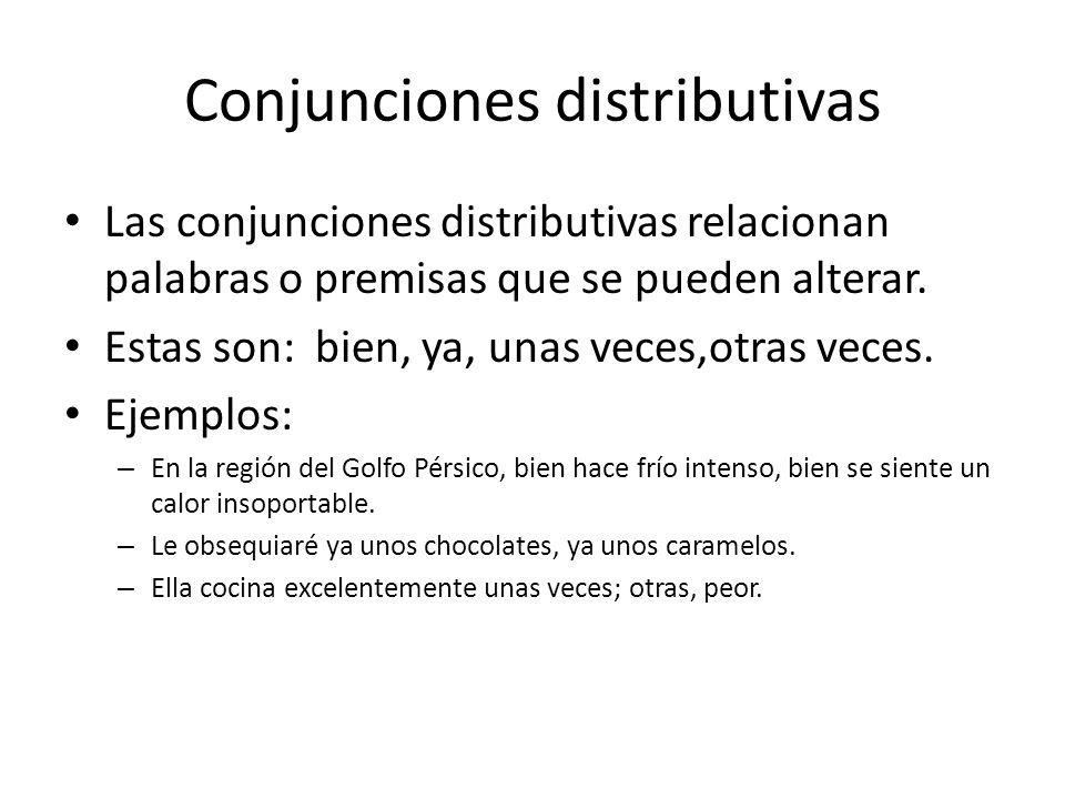 Conjunciones distributivas