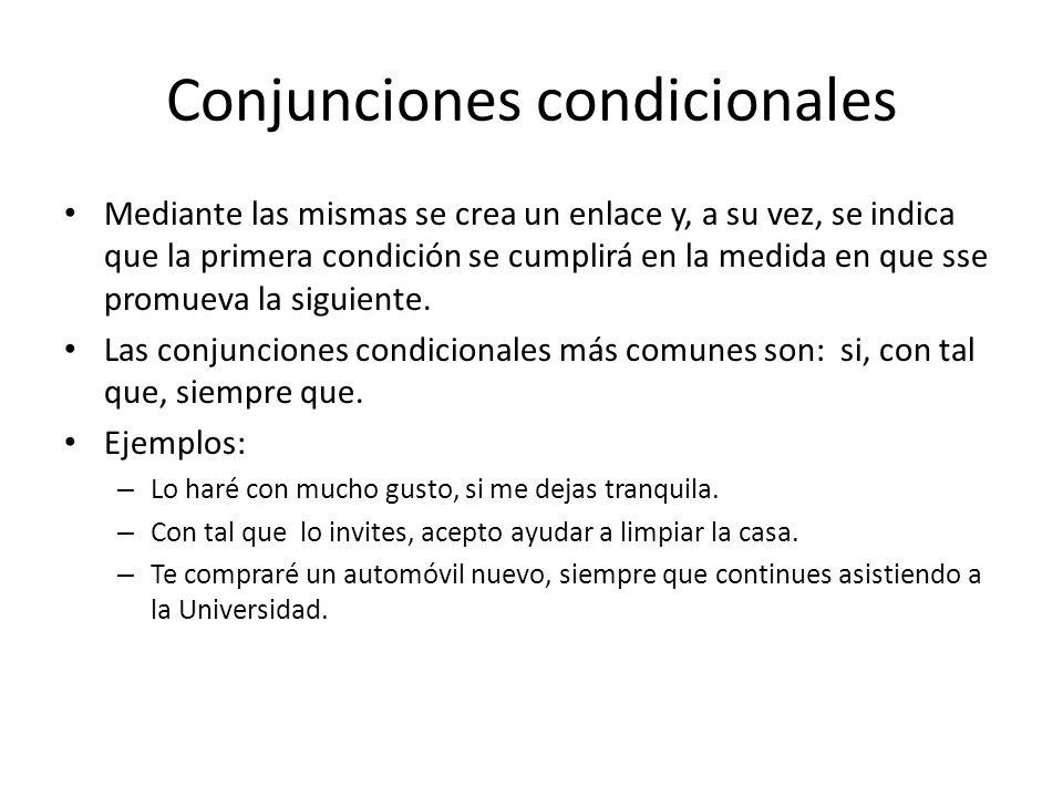 Conjunciones condicionales