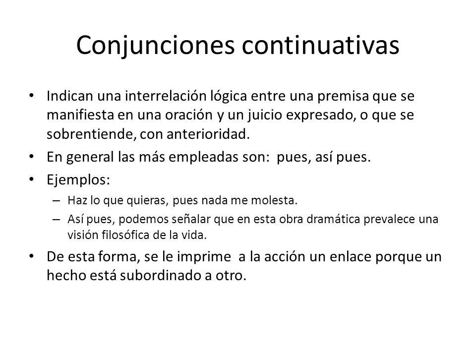 Conjunciones continuativas