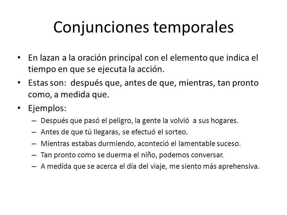 Conjunciones temporales