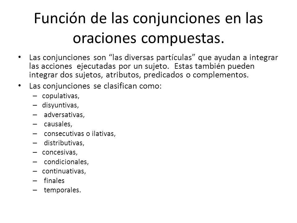Función de las conjunciones en las oraciones compuestas.