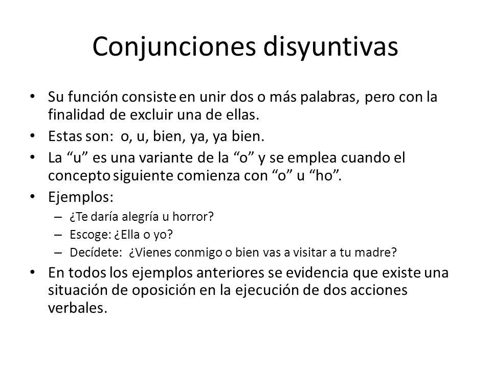 Conjunciones disyuntivas