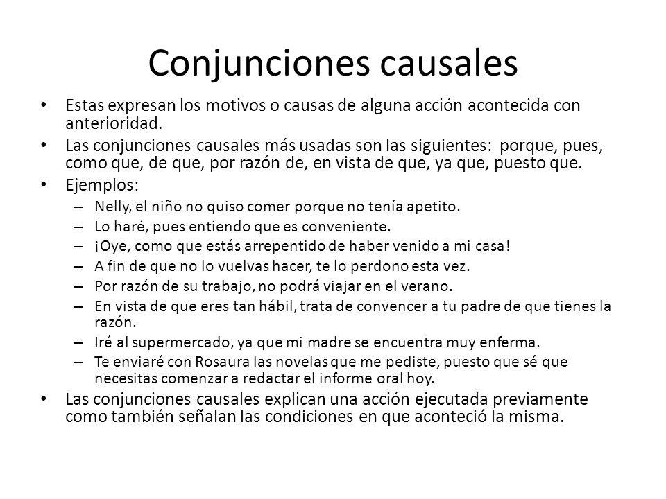 Conjunciones causales