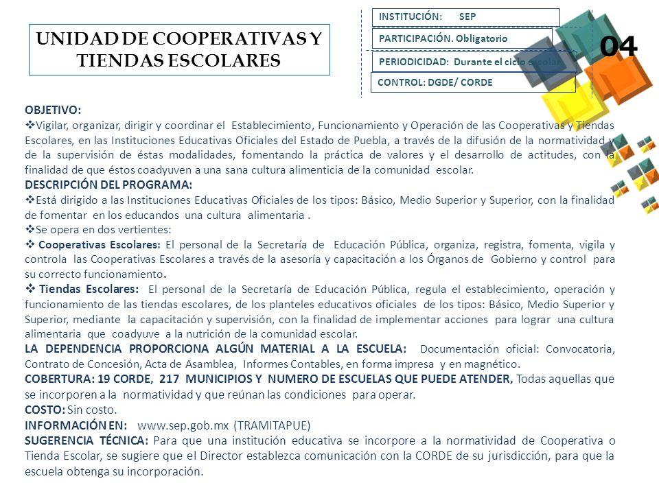 UNIDAD DE COOPERATIVAS Y TIENDAS ESCOLARES