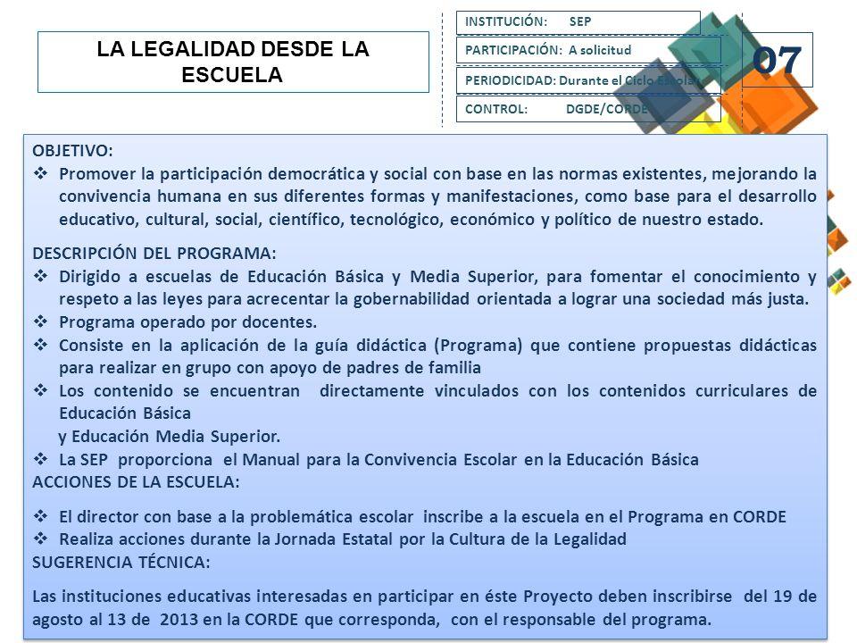LA LEGALIDAD DESDE LA ESCUELA