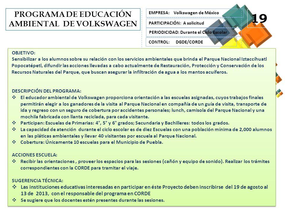 PROGRAMA DE EDUCACIÓN AMBIENTAL DE VOLKSWAGEN