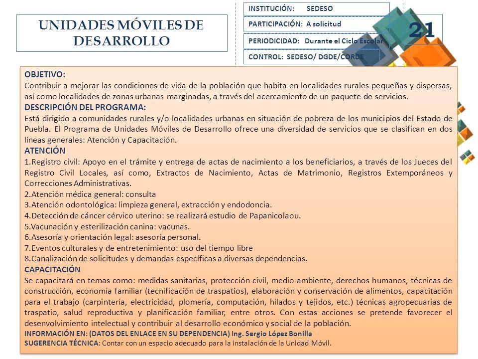 UNIDADES MÓVILES DE DESARROLLO
