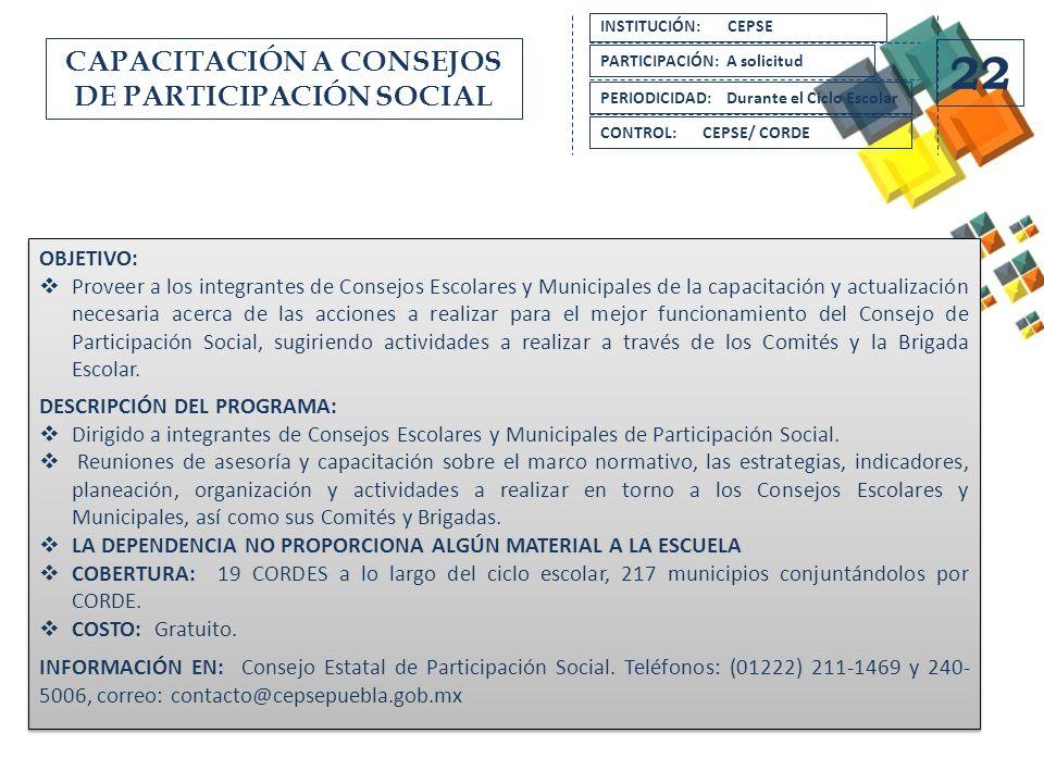 CAPACITACIÓN A CONSEJOS DE PARTICIPACIÓN SOCIAL