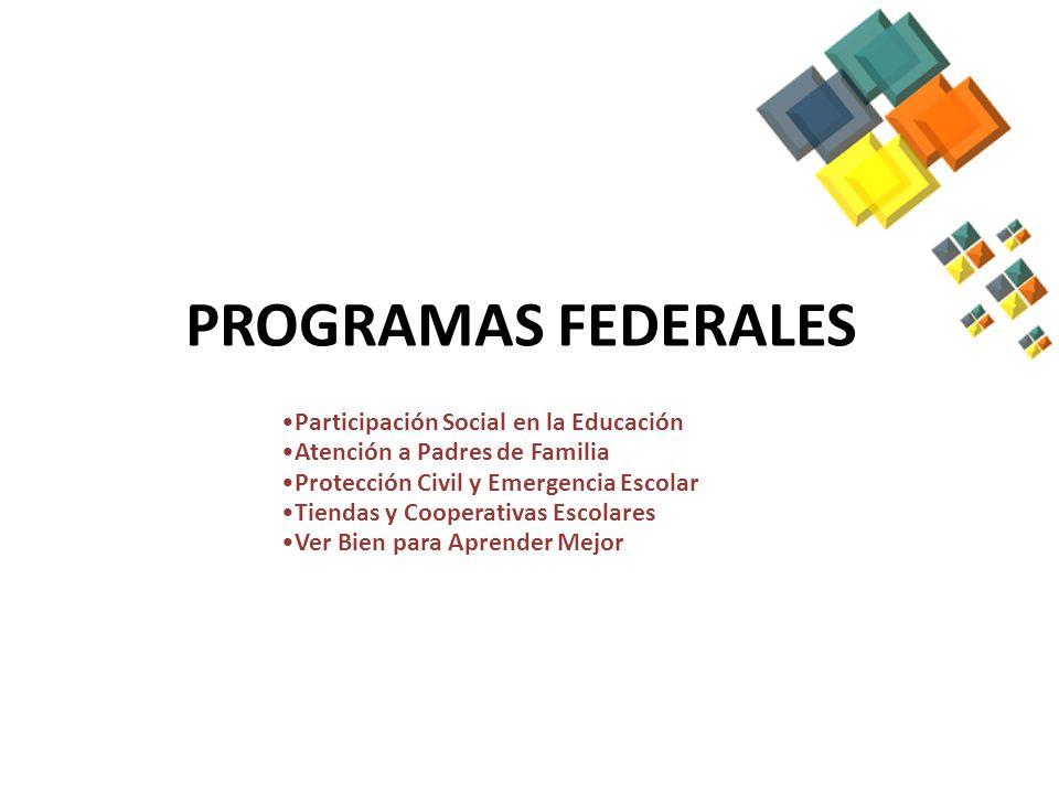 PROGRAMAS FEDERALES Participación Social en la Educación