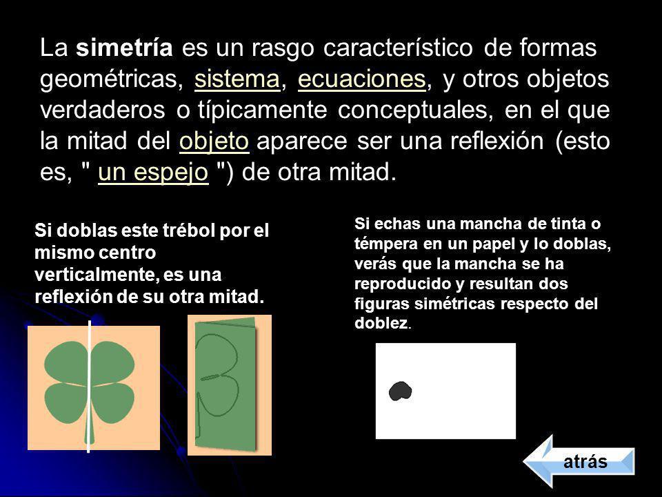 La simetría es un rasgo característico de formas geométricas, sistema, ecuaciones, y otros objetos verdaderos o típicamente conceptuales, en el que la mitad del objeto aparece ser una reflexión (esto es, un espejo ) de otra mitad.