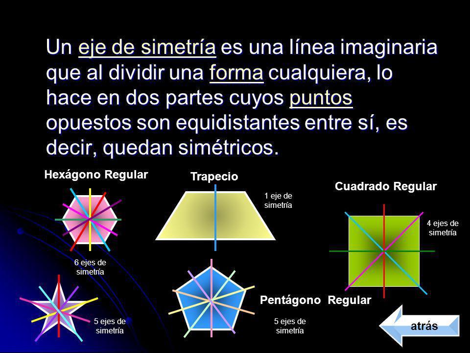 Un eje de simetría es una línea imaginaria que al dividir una forma cualquiera, lo hace en dos partes cuyos puntos opuestos son equidistantes entre sí, es decir, quedan simétricos.