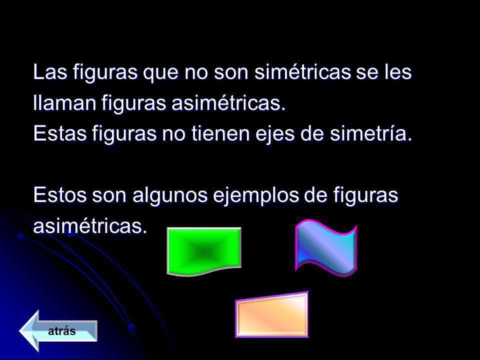 Las figuras que no son simétricas se les llaman figuras asimétricas.