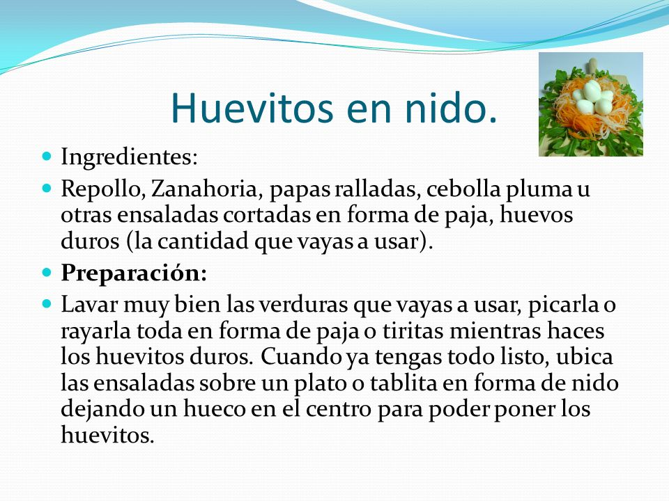 Huevitos en nido. Ingredientes: