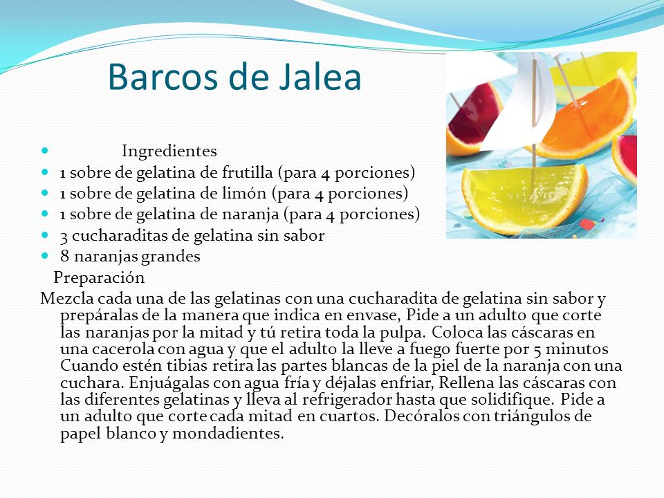 Barcos de Jalea Ingredientes